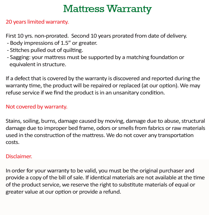 Our Mattress Warranty Dormio Organic Beds